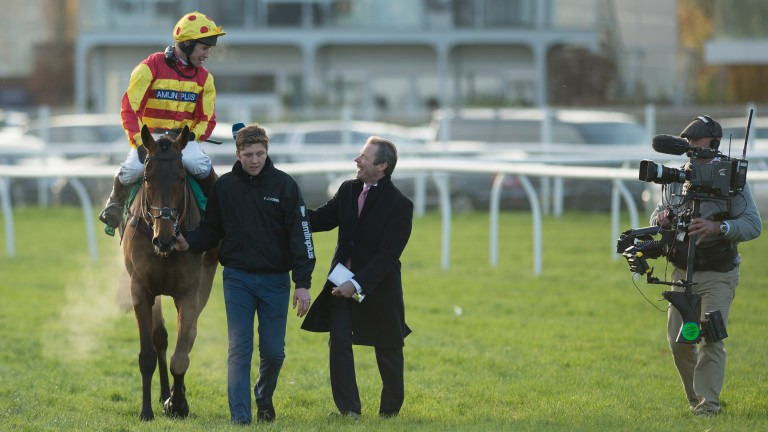 Mick Fitzgerald, on Channel 4 duty, welcomes back his syndicate horse Onefitzall