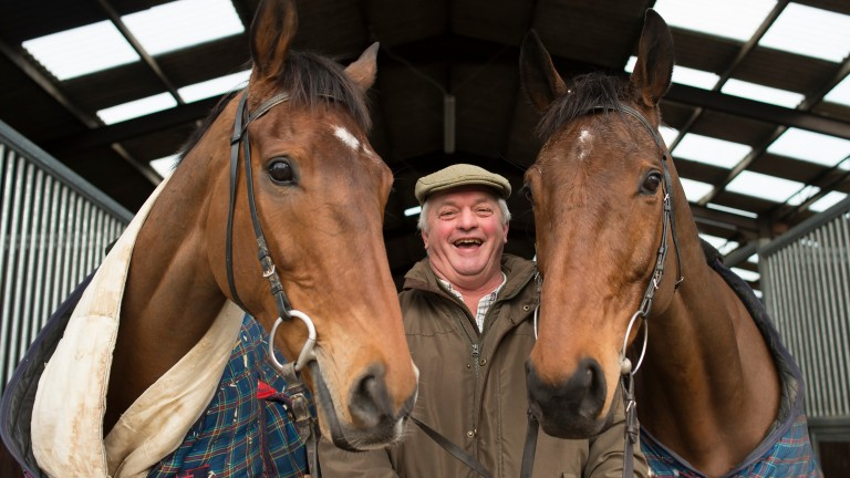 Colin Tizzard poses with his stable stars Cue Card and Thistlecrack at Venn Farm
