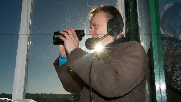 Talking the talk: commentator Simon Holt at work at Plumpton