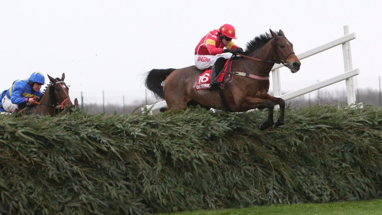 Highland Lodge and Henry Brooke sail over the last to win in the Becher Chase a year ago
