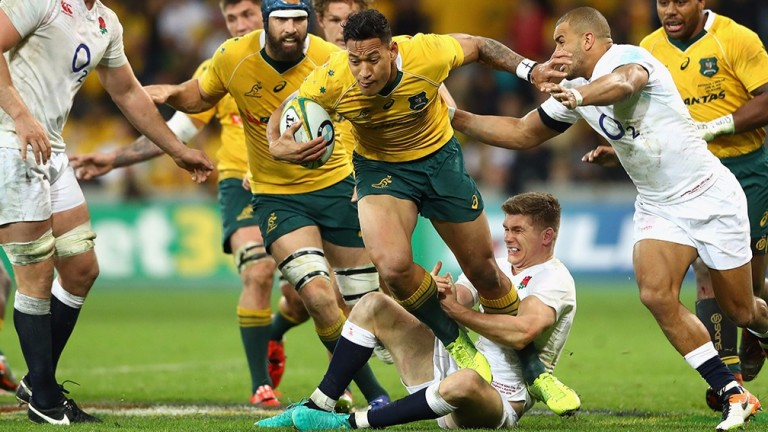 Australia's Israel Folau is tackled against England in June