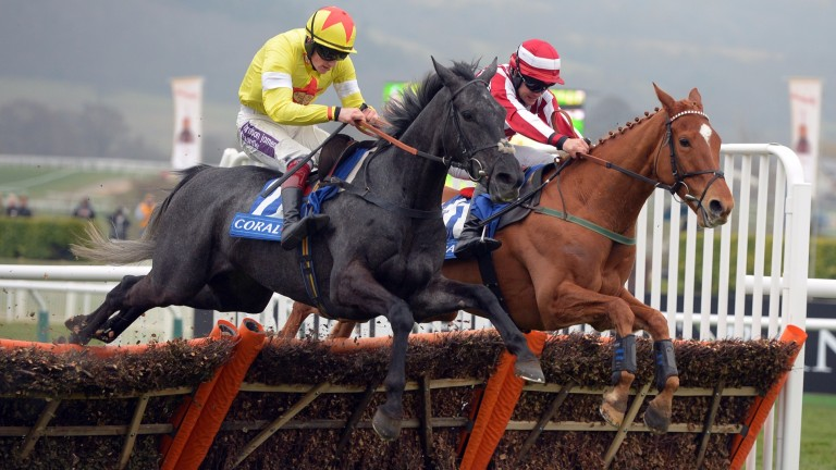 Aux Ptits Soins (nearside) winning the 2015 Coral Cup