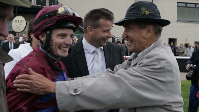 Joerg Vasicek (right) with Gerry Ross (centre) congratulates Declan McDonogh after La Collina won the Phoenix Stakes