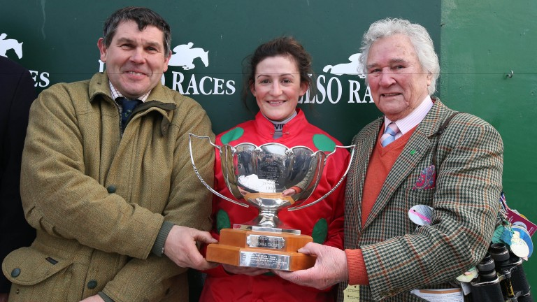 Sandy Thomson, Rachel McDonald and Jim Beaumont after Harry The Viking won the 2016 Borders National