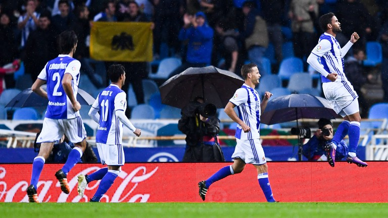 William Jose (R) has scored seven league goals for Real Sociedad this term