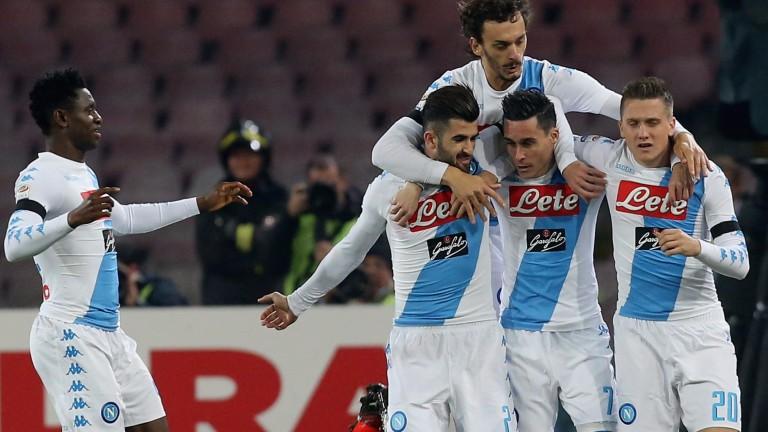 Napoli celebrate one of their many goals this season