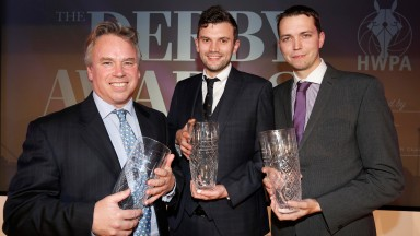 Racing Post's winning trio of Ed Whitaker Photographer of the Year (left) Tom Kerr (center) Racing Writer of the Year and  Patrick McCann with Racing Photograph of the YearThe Derby Awards 5.12.16Pic Dan Abraham-racingfotos.com