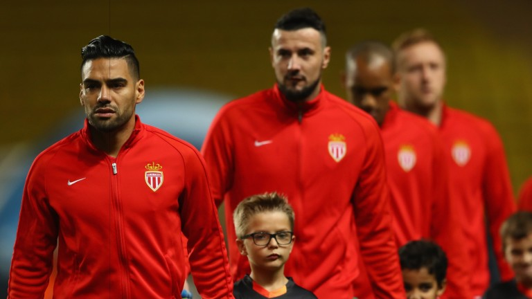 Radamel Falcao leads out his Monaco team