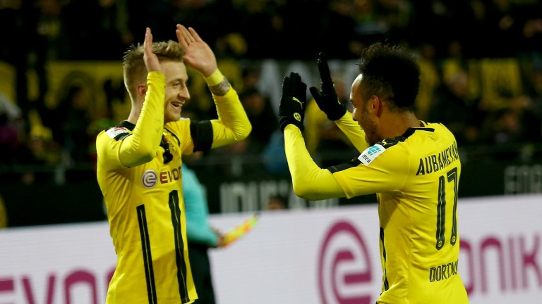Dortmund's Pierre-Emerick Aubameyang and Marco Reus