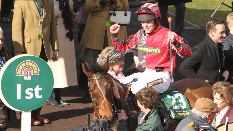 Jamie Hamilton celebrates his biggest win on Tartan Snow in the 2013 Aintree Fox Hunters'