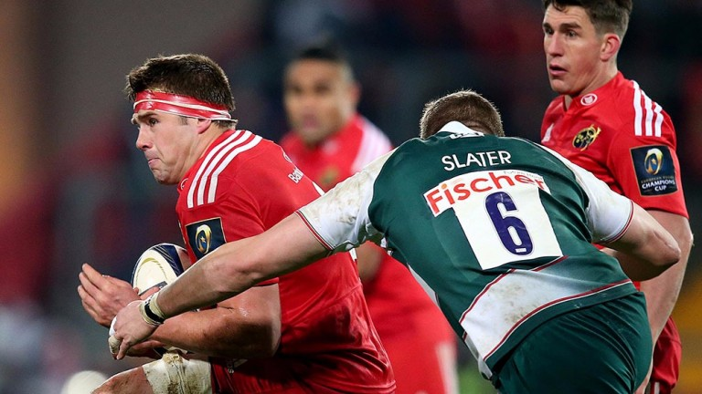 Munster's CJ Stander evades the tackle of Leicester's Ed Slater in last season's encounter