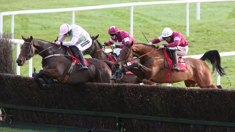 PUNCHESTOWN SUN 11 DECEMBER 2016 PICTURE: CAROLINE NORRIS DJAKADAM RIDDEN BY RUBY WALSH JUMPING THE LAST FENCE TO WIN THE JOHN DURKAN MEMORIAL PUNCHESTOWN STEEPLECHASE FROM OUTLANDER RIDDEN BY DAVY RUSSELL, 2ND, AND SUB LIEUTENANT RIDDEN BY BRYAN COOPER,