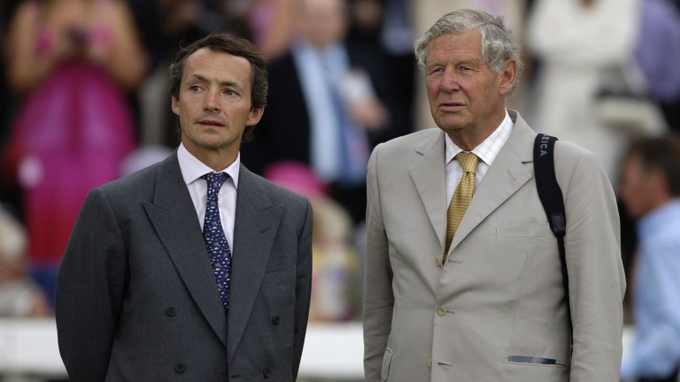 Family ties: Swinburn with father-in-law and former trainer Peter Harris at Doncaster in 2005