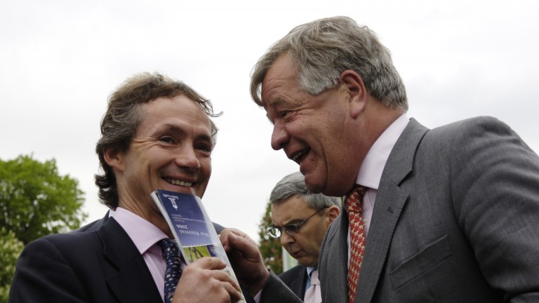 Happier times: Swinburn shares a joke with Shergar's trainer Sir Michael Stoute at York in 2006
