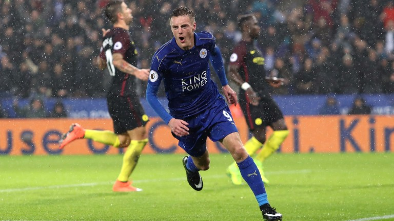 Leicester's Jamie Vardy scored a hat-trick against Man City