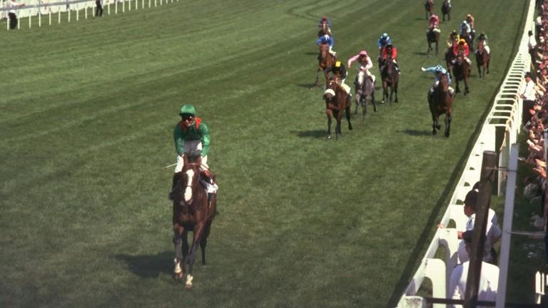 Walter Swinburn and Shergar pass the Epsom winning post ten lengths clear