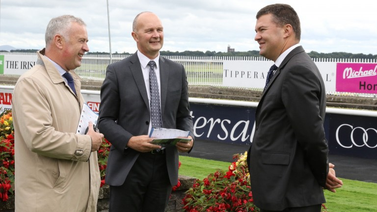 Paul Hensey chats with Curragh CEO Derek McGrath and Finance Manager Ronan O'Connor