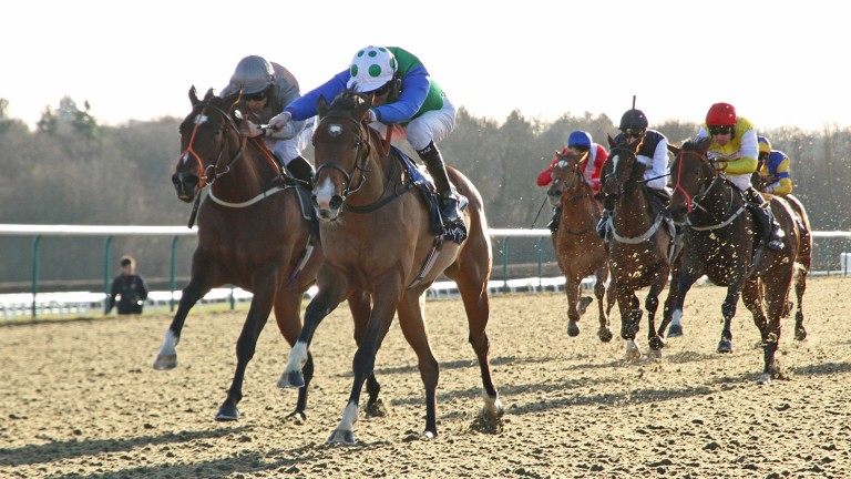 Cercle D'Or (spotted cap): got off the mark in the first division of the maiden fillies' stakes at Lingfield