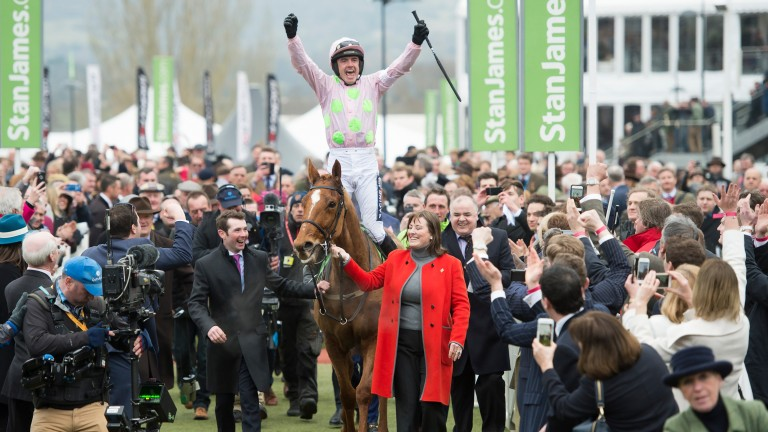 Ruby Walsh enjoys the moment after Champion Hurdle success on Annie Power