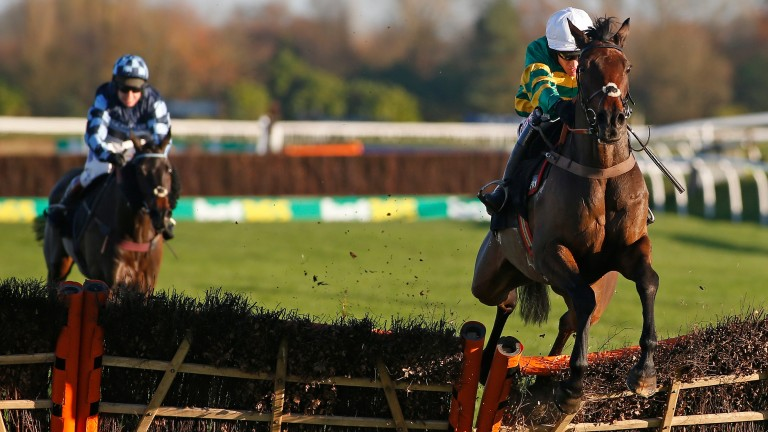Unowhatimeanharry and Barry Geraghty jump the last clear at Newbury last month