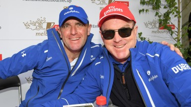 MELBOURNE, AUSTRALIA - OCTOBER 31:  Godolphin trainers Charlie Appleby and John O'Shea pose for photo after the 2016 Melbourne Cup Conference on October 31, 2016 in Melbourne, Australia.  (Photo by Vince Caligiuri/Getty Images)