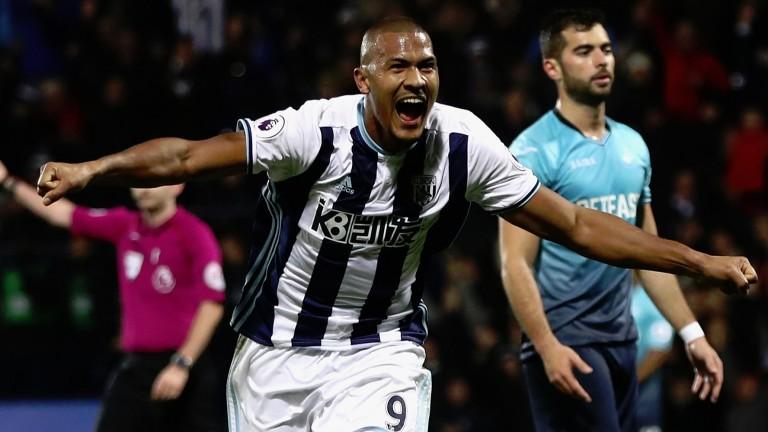 Salomon Rondon celebrates his hat-trick against Swansea on Wednesday
