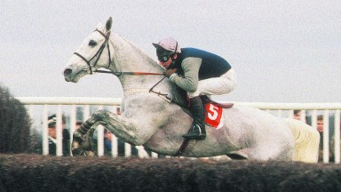 Desert Orchid and Simon Sherwood on their way to a thrilling first King George in 1986