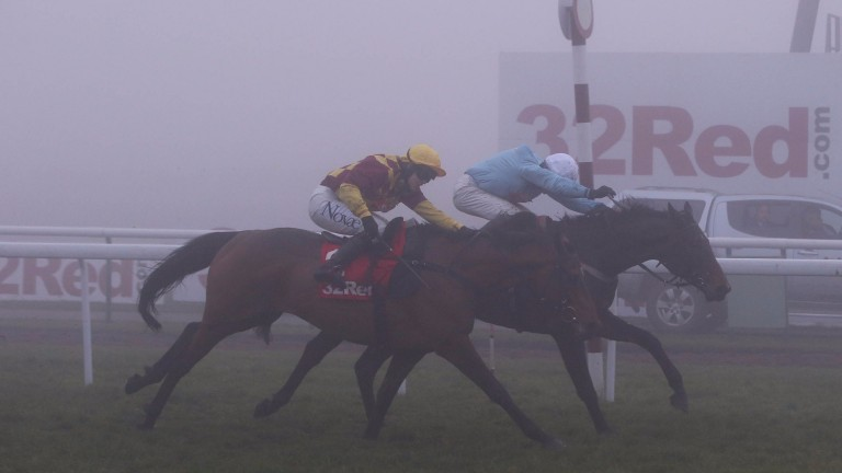 Clyne (light blue) beats Le Rocher in the concluding 32Red.com Handicap Hurdle at Haydock, althjough commentator Stewart Machin was unable to see the finish