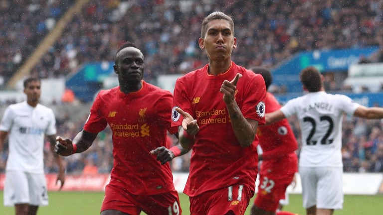 Liverpool forwards Sadio Mane (left) and Roberto Firmino