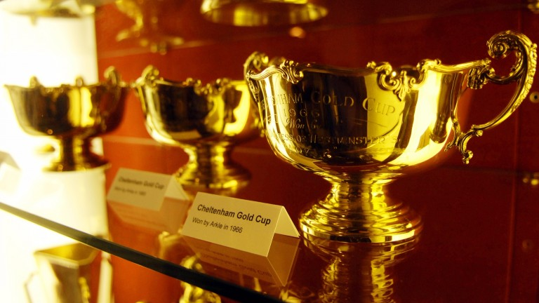 The three Gold Cups won by Arkle at Cheltenham in 1964, 1965 and 1966