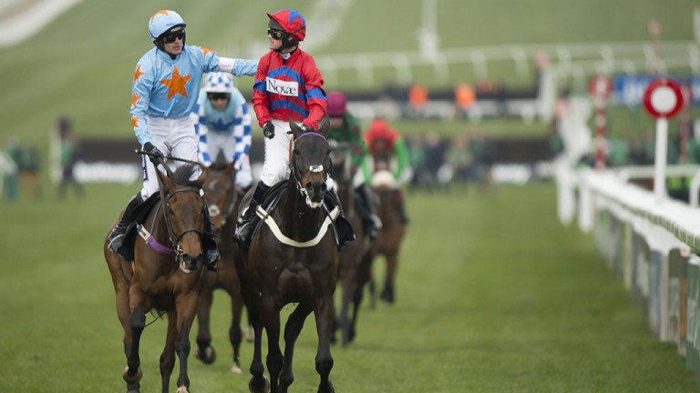 Sportsmanship at its finest: Ruby Walsh congratulates Nico de Boinville after Sprinter Sacre's amazing Champion Chase win