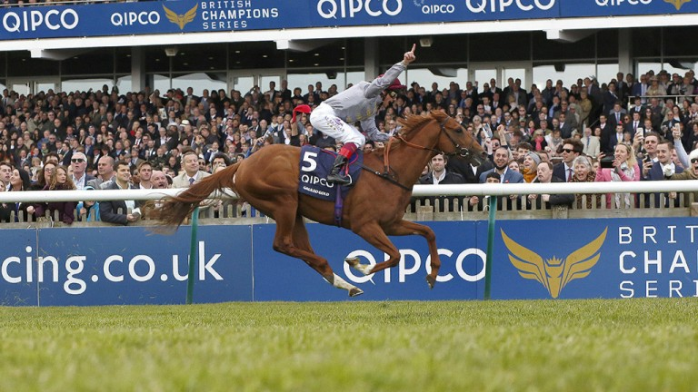 Striking gold: Frankie Dettori can afford to showboat as he guides Galileo Gold to victory in the 2,000 Guineas