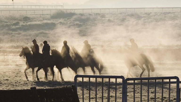 Patrick McCann was on hand to capture some early-morning work in the mist and frost at the Curragh