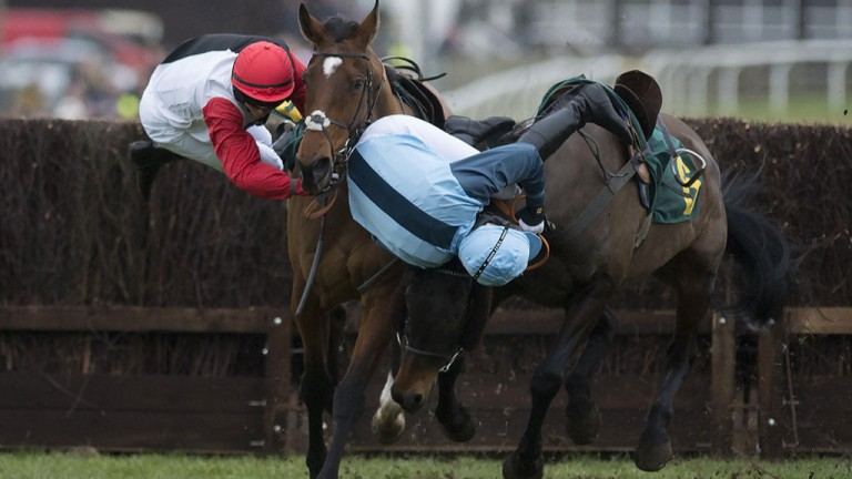 Hopes dashed: Victoria Pendleton (left) comes to grief aboard Pacha Du Polder, her Foxhunter ride, at the seventh fence at Fakenham