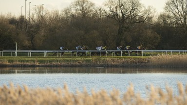 On the waterfront: runners head down the back at Huntingdon