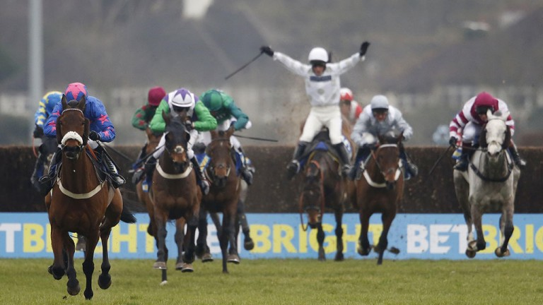 Hands up you win: Daryl Jacob is all at sea on Fox Appeal at the last as Theatre Guide and Paddy Brennan gallop away with the BetBright Chase at Kempton