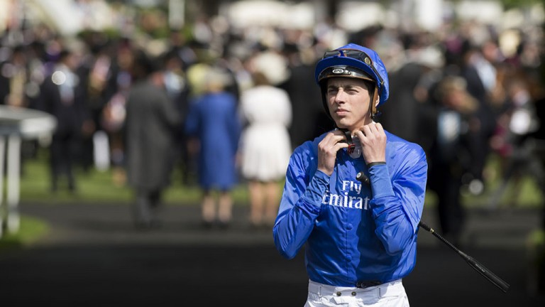 Getting ready: James Doyle attaches his chin strap ahead of his ride on Log Out Island in the Commonwealth Cup at Royal Ascot