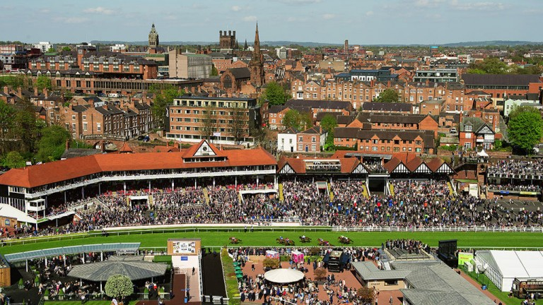 Award-winning photographer Edward Whitaker captured this sensational image across the city during the 5f conditions stakes won by Sir Maximilian on the opening day of Chester's May meeting
