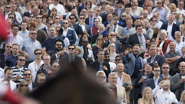 Heads up: racegoers enjoy the action in the Coral Distaff at Sandown won by Light Up Our World