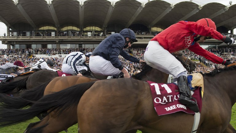 Take Cover (right) gamely holds off Washington DC at Goodwood last summer
