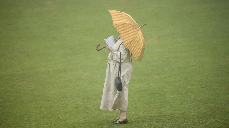 Lone ranger: one racegoer braves the elements before the Group 3 Lillie Langtry Stakes at Glorious Goodwood