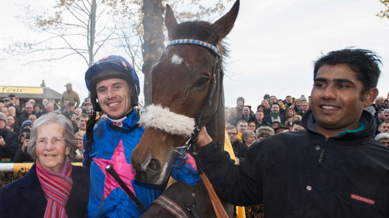 Jean Bishop with Paddy Brennan and Cue Card