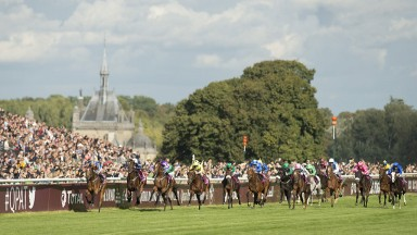Aidan's amazing 1-2-3: Ryan Moore and Found (left) surge to success in the Arc from Ballydoyle stablemates Highland Reel (third left) and Order Of St George (second left) at Chantilly