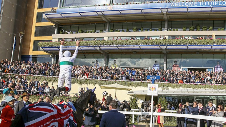 Flying Frankie: Dettori performs his trademark dismount after winning the Fillies & Mares on Journey on Champions Day at Ascot