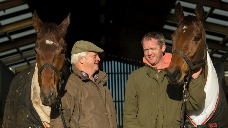 Rivals: Colin and Joe Tizzard with Cue Card (left) and Thistlecrack