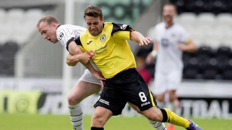 Edinburgh City's Sean Muhsin battles with St Mirren's David Clarkson