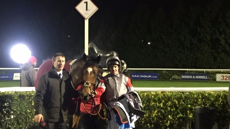 Stand Guard in the winner's enclosure at Kempton after his 27th all-weather win last time