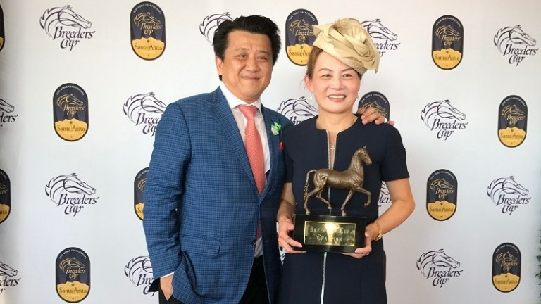 Charles Chu (left): donated $20,000 to the Old Friends Thoroughbred retirement farms