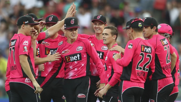 The Sixers celebrates a wicket against the Thunder