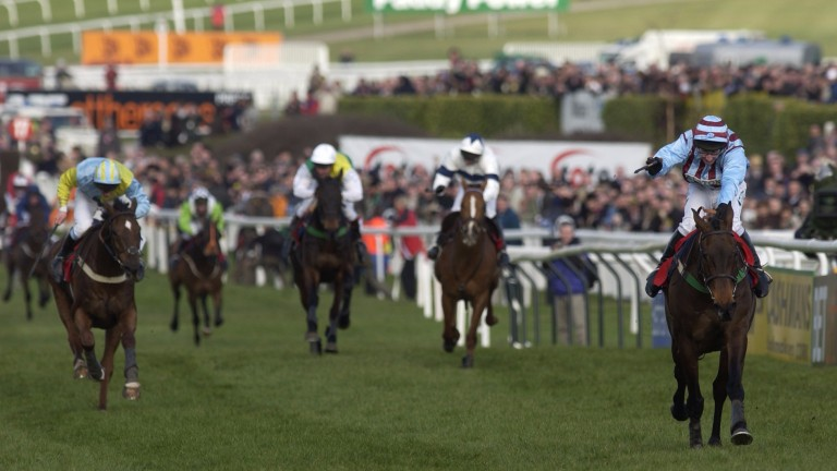 Truckers Tavern and Davy Russell (extreme left) chase home Best Mate in the 2003 Cheltenham Gold Cup